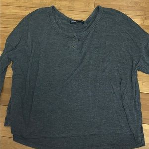 Grey Brandy Melville quarter sleeve top